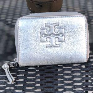 Silver Tory Burch Key & Card Holder